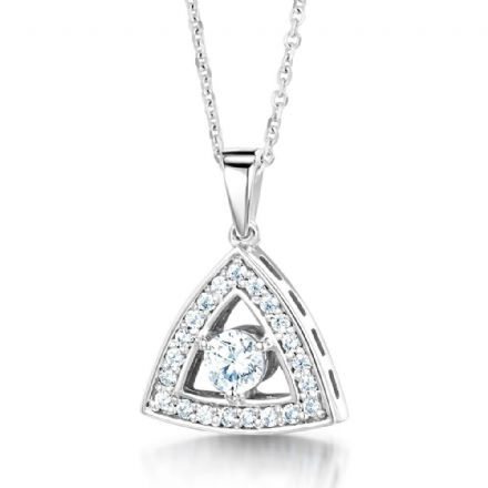 18ct White Gold  G, VS  Diamond pendant stone set triangle with round stone in centre